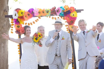 Mexican Fiesta Wedding Ceremony Under Arch With Paper Flowers 400